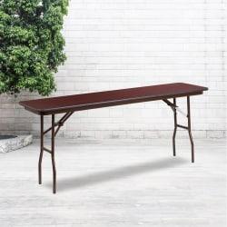 "Flash Furniture Folding Training Table, 30""H x 18""W x 72""D, Mahogany"