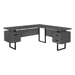 "Monarch Specialties Dallas 71""W L-Shaped Computer Desk, Gray"