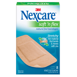 """3M™ Nexcare™ Comfort Knee/Elbow Bandages, 1 7/8"""" x 4"""", Pack Of 8"""