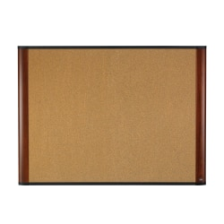 """3M™ Cork Bulletin Board, 48"""" x 72"""", Natural Brown, Mahogany Frame"""