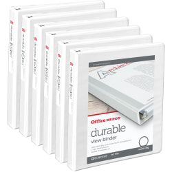 """Office Depot® Brand Durable Round-Ring View Binders, 1"""" Rings, White, Pack Of 6"""