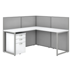 "Bush Business Furniture Easy Office 60""W L-Shaped Cubicle Desk Workstation With 45""H Panels, Pure White/Silver Gray, Standard Delivery"