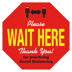 "Alliance Please Wait Here Social Distancing Floor Decals, 12"" Octagon, Red, Pack Of 25 Decals"