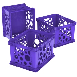 Storex® File Crates, Medium Size, Classroom Purple, Pack Of 3