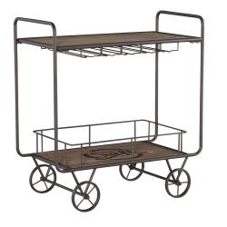 "Powell Home Fashions Lainey Bar Cart, 35""H x 31-7/8""W x 16-1/2""D, Natural/Dark Bronze"