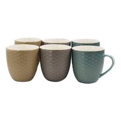 Elama 15-Oz. Mugs, Honeysuckle, Assorted Colors, Set Of 6 Mugs