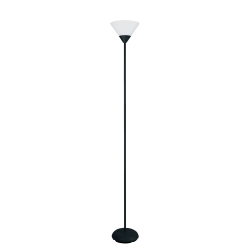 "Simple Designs Light Stick Torchiere Floor Lamp, 71 1/4""H, Clear Shade/Black Base"