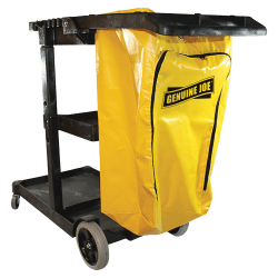 "Genuine Joe Workhorse Janitor's Cart - 40"" Width x 20.5"" Depth x 38"" Height - Charcoal, Yellow"