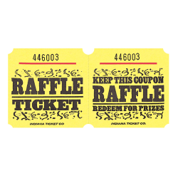 Amscan Raffle Ticket Roll, Yellow, Roll Of 1,000 Tickets