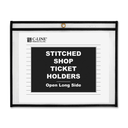 "C-Line Shop Ticket Holder - 12"" x 9"" - Rectangular - Vinyl - 25 / Box - Clear"""