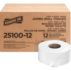 "Genuine Joe 2-Ply Jumbo Roll Toilet Paper, 3-1/4"" x 1000', White, Non-Perforated, Carton Of 12 Rolls"