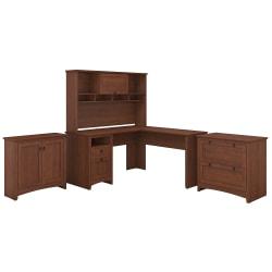 Bush Furniture Buena Vista L Shaped Desk With Hutch, Lateral File And Small Storage Cabinet, Serene Cherry, Standard Delivery