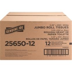 "Genuine Joe 2-ply Jumbo Roll Dispenser Bath Tissue - 2 Ply - 3.30"" x 650 ft - 8.63"" Roll Diameter - White - Nonperforated, Unscented - 12 / Carton"