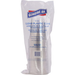 Genuine Joe Clear Plastic Cups - 12 fl oz - 25 / Pack - Clear - Plastic - Cold Drink