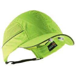 Ergodyne Skullerz 8960 Bump Cap With LED Lights, Long Brim, Lime