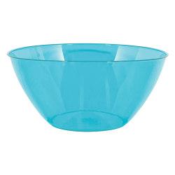 """Amscan 2-Quart Plastic Bowls, 3-3/4"""" x 8-1/2"""", Caribbean Blue, Set Of 8 Bowls"""