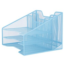 "Mind Reader 5-Compartment Desk Organizer, 9-1/8""H x 12-1/2""W x 11""D, Blue"