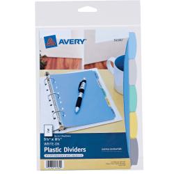 "Avery® Write & Erase Plastic Dividers, 5 1/2"" x 8 1/2"", Multicolor, 5-Tab"