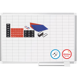 """MasterVision® Platinum Pure 1"""" x 2"""" Grid Planning Dry-Erase Whiteboard, 48"""" x 36"""", Aluminum Frame With Silver Finish"""