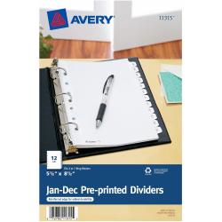 "Avery® Preprinted Tab Dividers, Mini, 5 1/2"" x 8 1/2"", Jan-Dec Tabs, White"