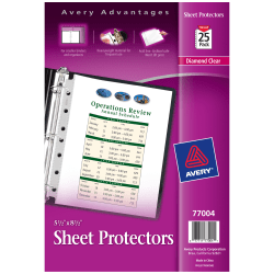 "Avery® Diamond Clear Heavyweight Sheet Protectors, 5 1/2"" x 8 1/2"", 7-Hole, Pack Of 25"