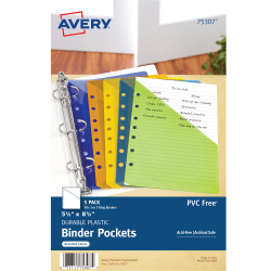 """Avery® Binder Pockets, 5 1/2"""" x 8 1/2"""", Assorted, Pack Of 5"""