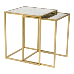 Zuo Modern Calais Nesting Tables, Square, Mirrored Glass/Brass, Set Of 2 Tables