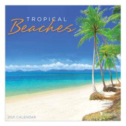 "TF Publishing Mini Scenic Wall Calendar, 7"" x 7"", Tropical Beaches, January To December 2021"