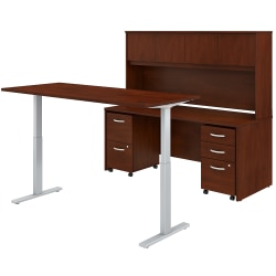 "Bush Business Furniture Studio C 72""W x 30""D Height-Adjustable Standing Desk, Credenza With Hutch And Mobile File Cabinets, Hansen Cherry, Standard Delivery"