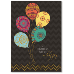 "Viabella Birthday Greeting Card With Envelope, Birthday Balloons, 5"" x 7"""