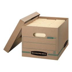 """Bankers Box® Stor/File™ Standard-Duty Storage Boxes With Lift-Off Lids And Built-In Handles, Letter/Legal Size, 15"""" x 12"""" x 10"""", Kraft/Green, 100% Recycled, Case Of 12"""