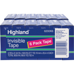 "Highland 3/4""W Matte-finish Invisible Tape - 27.78 yd Length x 0.75"" Width - 1"" Core - 12 / Bundle - Matte Clear"