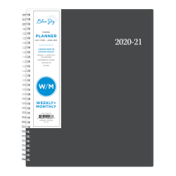 """Blue Sky™ AY21 Weekly/Monthly PP Planner, 8-1/2"""" x 11"""", Collegiate, July 2020 To June 2021, 100135-A"""