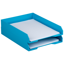 "JAM Paper® Stackable Paper Trays, 2""H x 9-3/4""W x 12-1/2""D, Blue, Pack Of 2 Trays"