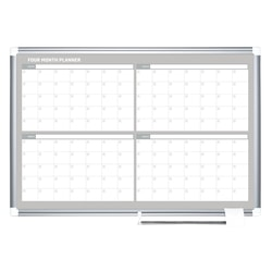"""MasterVision® Dry-Erase Calendar Board With 4-Month Grid, 24"""" x 36"""", Gray Metal Frame"""