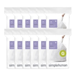 simplehuman Custom Fit Can Liners, G, 8 Gallons, White, Pack Of 240 Liners