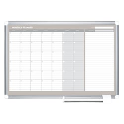 """MasterVision® Gold Ultra™ Magnetic Dry-Erase Monthly Calendar Planning Board, Lacquered Steel, 36"""" x 24"""", White/Plate Gray, Silver Aluminum Frame"""