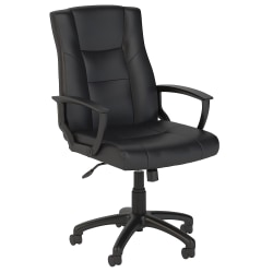 Bush Business Furniture Accord Bonded Leather Office Chair, Black, Standard Delivery