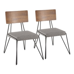 LumiSource Loft Chairs, Gray/Walnut Seat/Black Frame, Set Of 2 Chairs