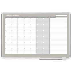 "MasterVision® Gold Ultra™ Magnetic Dry-Erase Monthly Calendar Planning Board, Lacquered Steel, 48"" x 36"", White/Plate Gray, Silver Aluminum Frame"