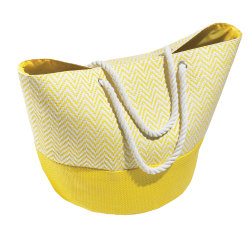 "Orbit Chevron Straw Beach Tote, 15""H x 24 13/16""W x 15 3/4""D, White/Yellow"