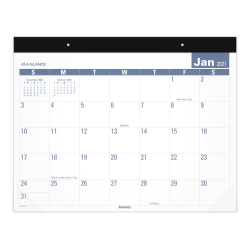 "AT-A-GLANCE® Easy To Read Monthly Desk Pad, 21-3/4"" x 17"", January To December 2021, SKLP2432"
