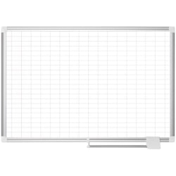 "MasterVision 2"" Grid Magnetic Gold Ultra Board Kit - Business - 1"" x 2"" Block - White, Silver - Aluminum, Lacquered Steel - 24"" Height x 36"" Width - Magnetic, Dry Erase Surface, Marker Tray, Mountable - 1 Each"