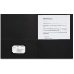 "Sparco 2-pocket Leatherette Portfolio - Letter - 8 1/2"" x 11"" Sheet Size - 2 Internal Pocket(s) - Leatherette Paper - Black - 25 / Box"