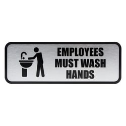 "Cosco® Brushed Metal ""Employees Must Wash Hands"" Sign, 3"" x 9"", Silver"