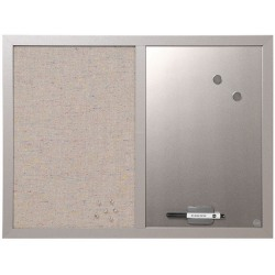 """MasterVision Magentic Fabric/Dry-Erase/Bulletin Board, Fabric, 18"""" x 24"""", Gray/White Board, Gray Wood Frame"""