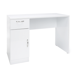 Essentials By OFM Single-Pedestal Solid Panel Desk With Cabinet, White