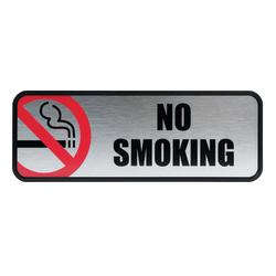 "Cosco® Brushed Metal ""No Smoking"" Sign, 3""x 9"", Silver"