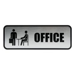 """Cosco® Brushed Metal """"Office"""" Sign, 3"""" x 9"""""""