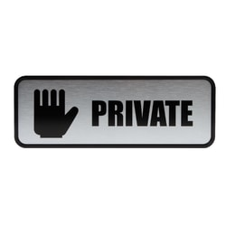 "Cosco® Brushed Metal ""Private"" Sign, 3"" x 9"""